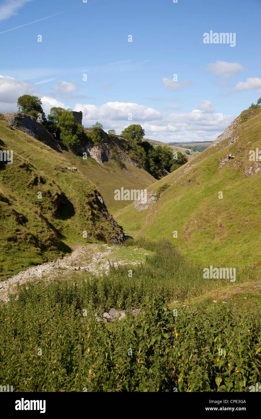 Peveril Castle, Castleton, Derbyshire, England, United Kingdom, Europe - Stock Image