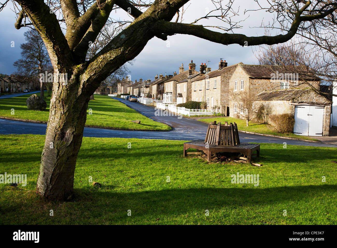 The Village Green at East Witton, North Yorkshire, Yorkshire, England, United Kingdom, Europe - Stock Image