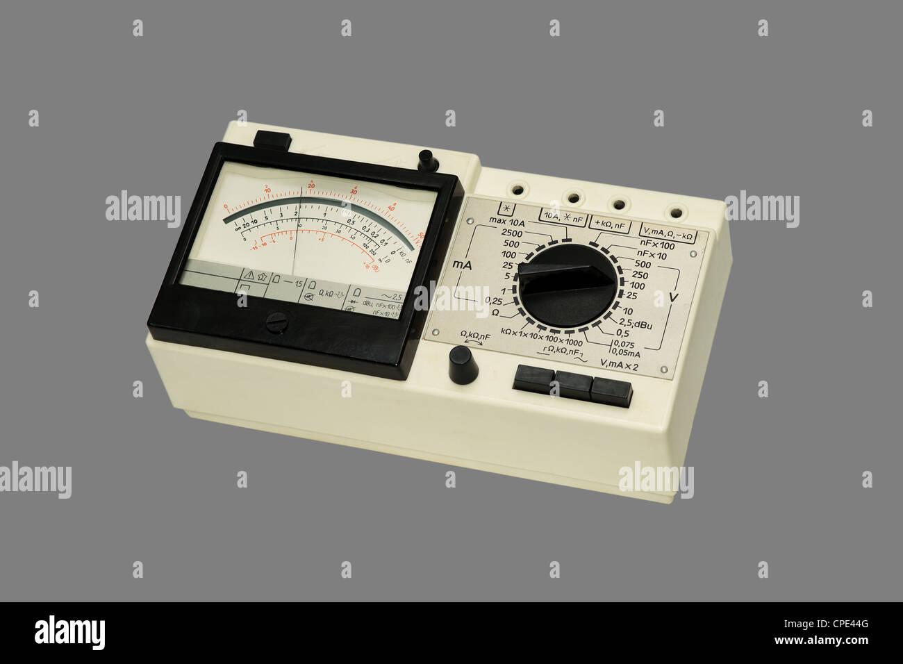 amperage, analog, calibration, conductivity, display, electrical, electronic, equipment, impedance, instrument, - Stock Image