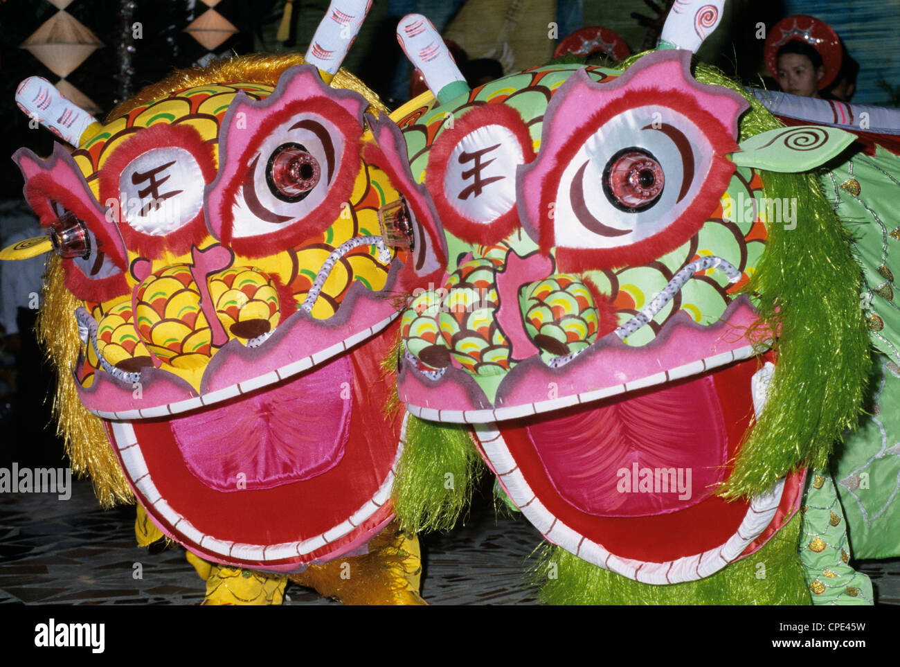 Chinese dragon dance at Chinese New Year celebrations, Vietnam, Indochina, Southeast Asia, Asia - Stock Image