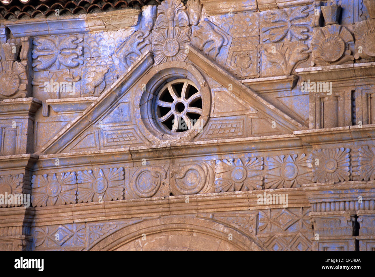 Door arch inspired by Aztec designs of the parish church of Our Lady of Regla, Pajara, Fuerteventura, Canary Islands, - Stock Image