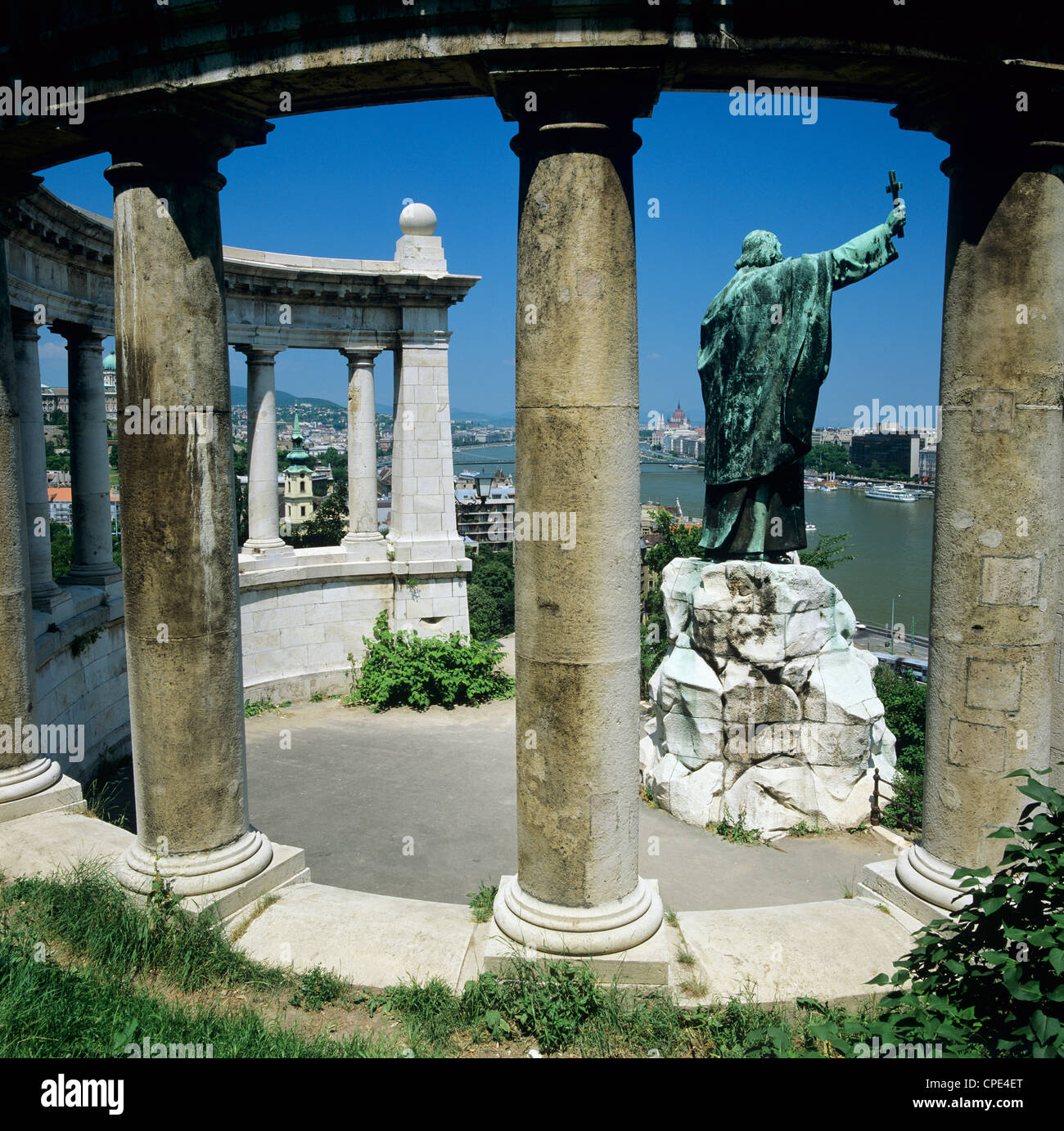 Gellert Monument with view over River Danube and city, Gellert Hill, Budapest, Hungary, Europe - Stock Image