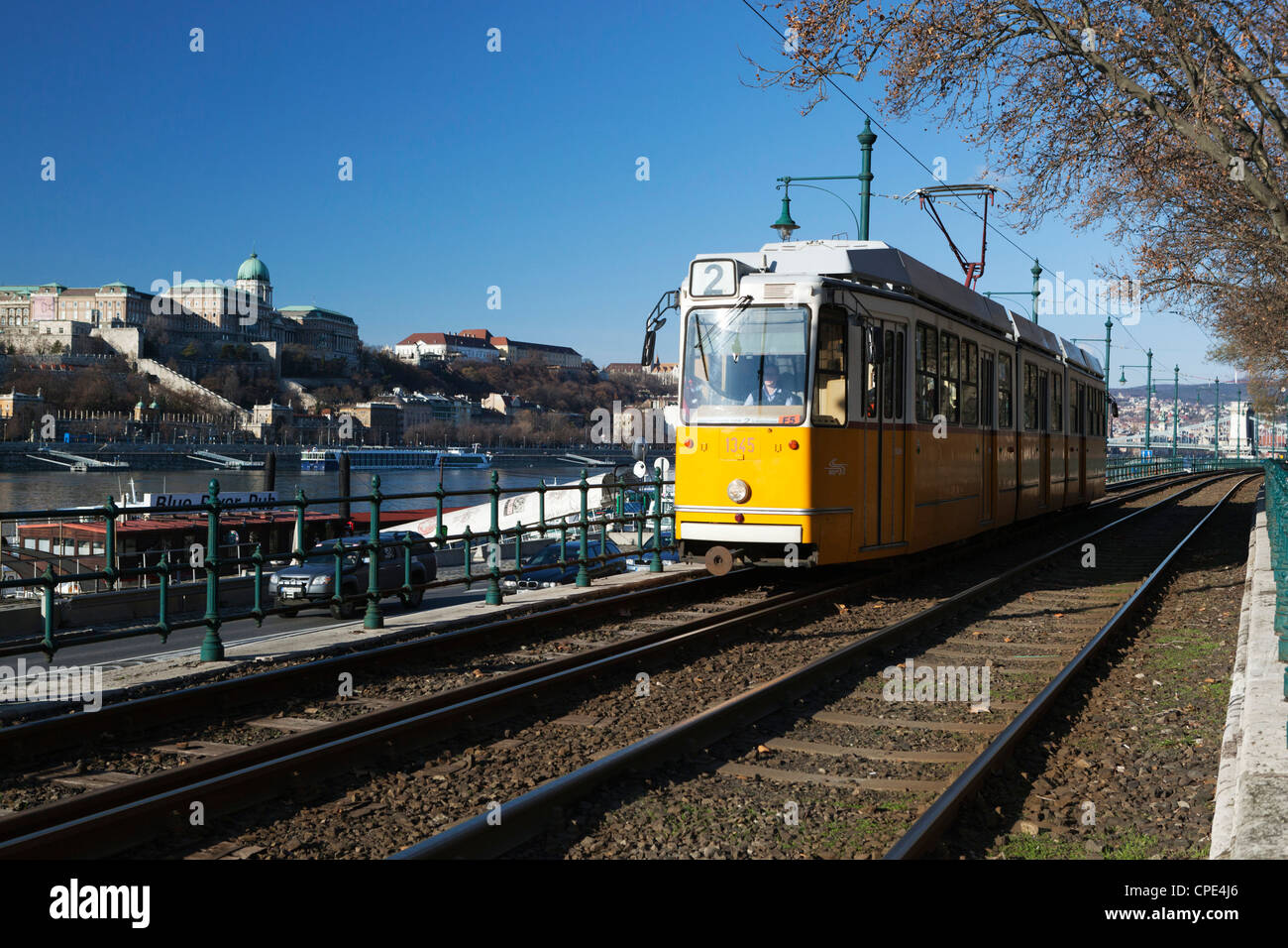 Tram alongside the Danube River, Pest, Budapest,  Hungary, Europe - Stock Image