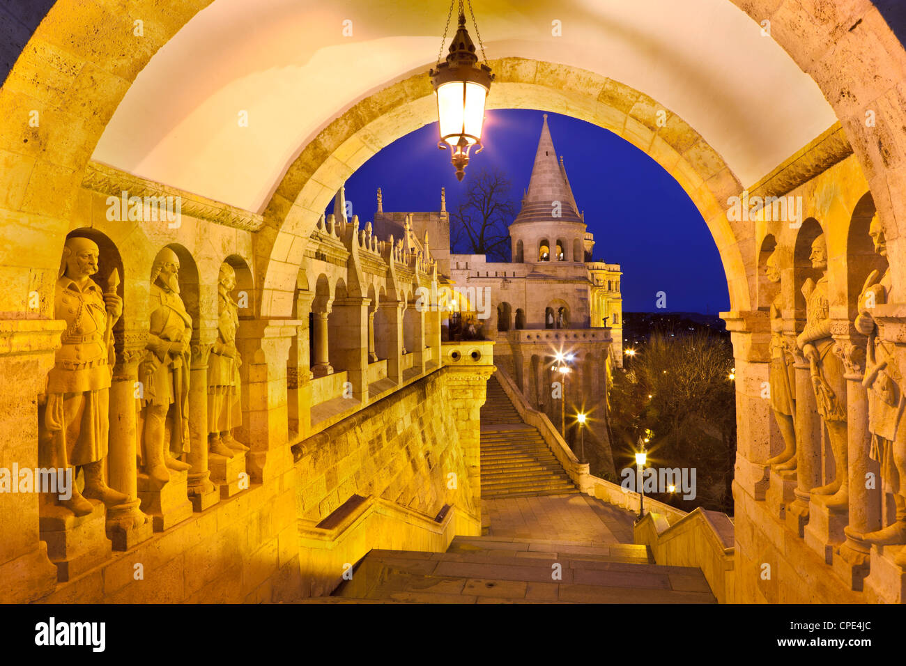 Fishermen's Bastion (Halaszbastya) at dusk, Buda, Budapest, Hungary, Europe - Stock Image