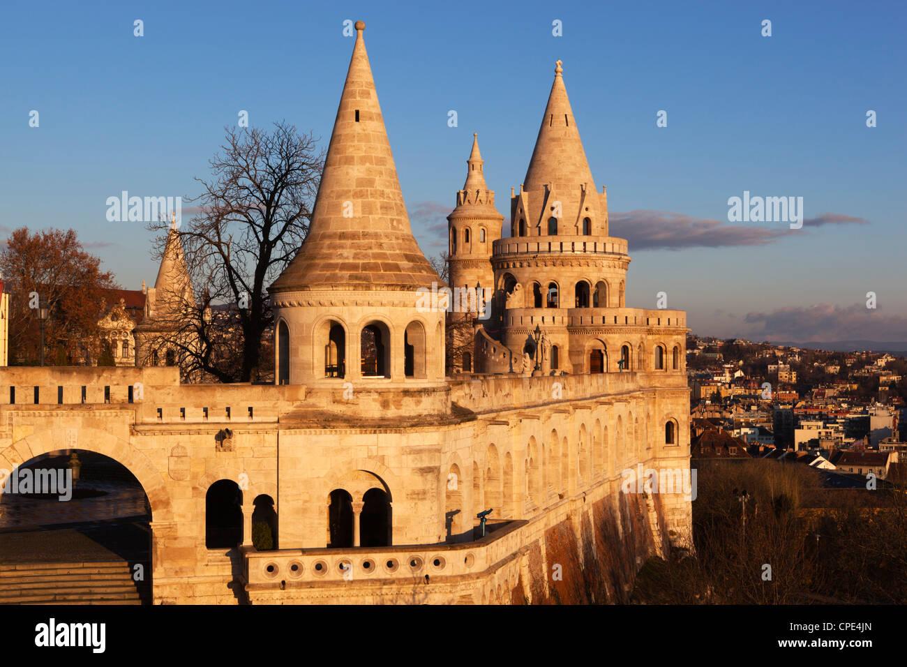 Turrets of Fishermen's Bastion (Halaszbastya), Buda, Budapest, Hungary, Europe - Stock Image