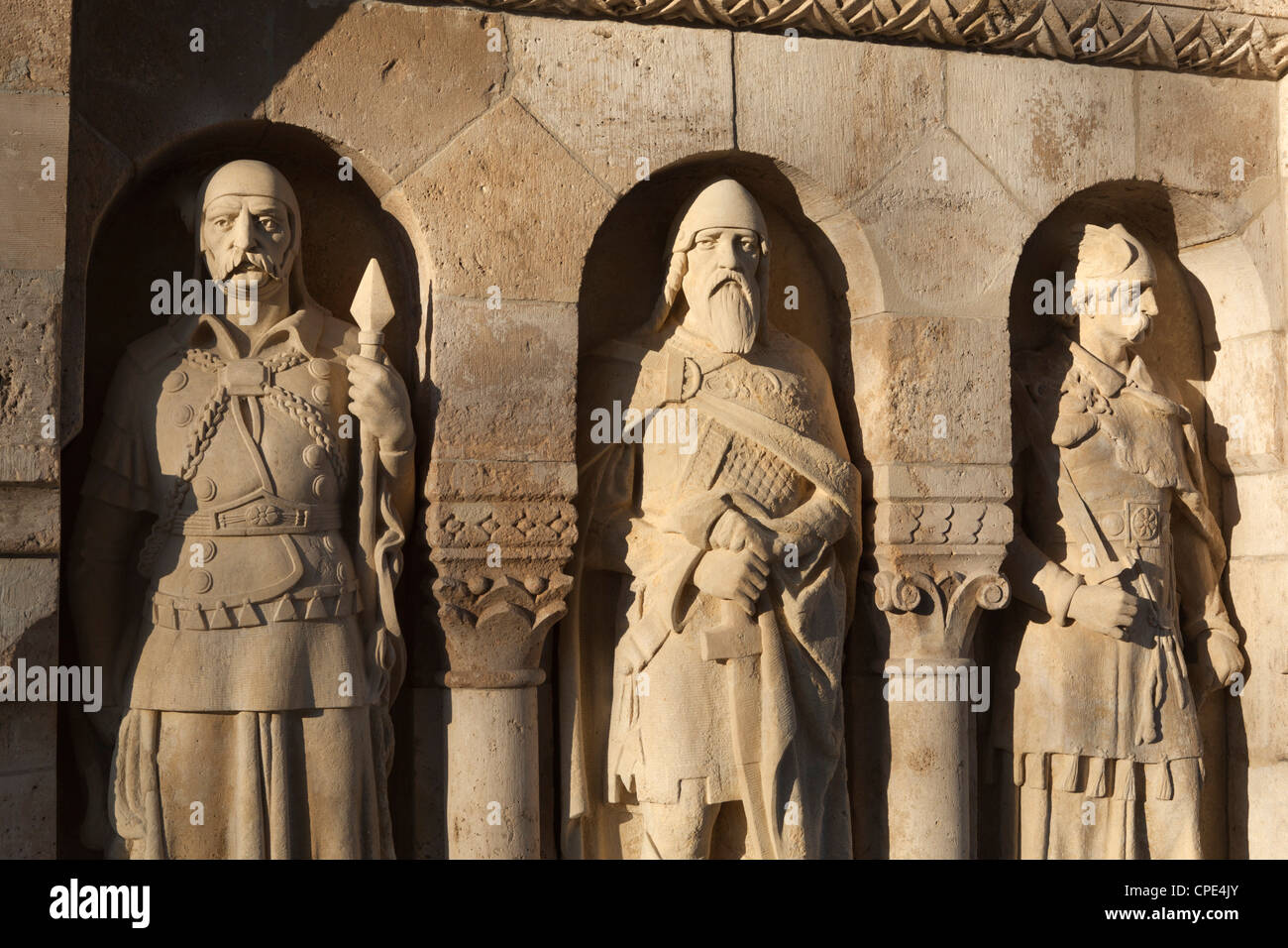 Statues on Fishermen's Bastion (Halaszbastya), Buda, Budapest, Hungary, Europe - Stock Image