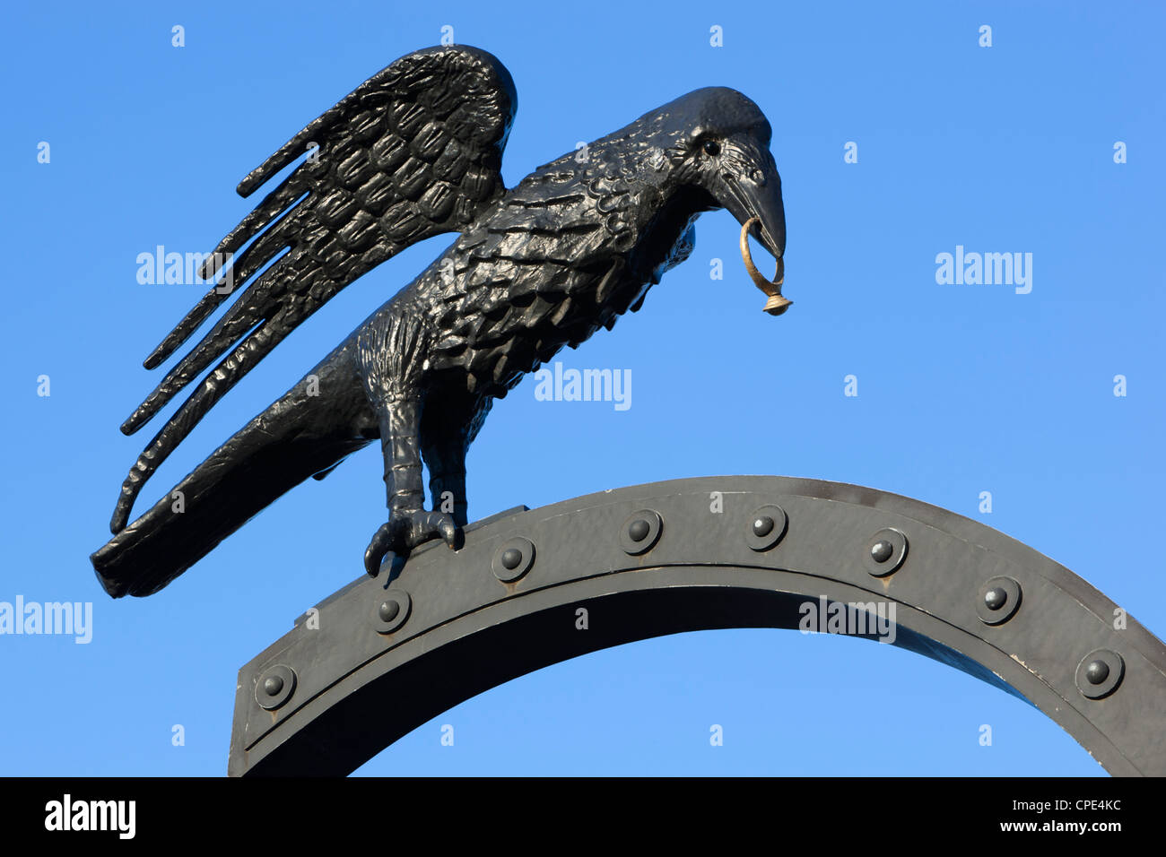 Raven motif derived from Coat of Arms of Matthias Corvinus, Royal Palace (Buda Castle), Budapest, Hungary, Europe - Stock Image
