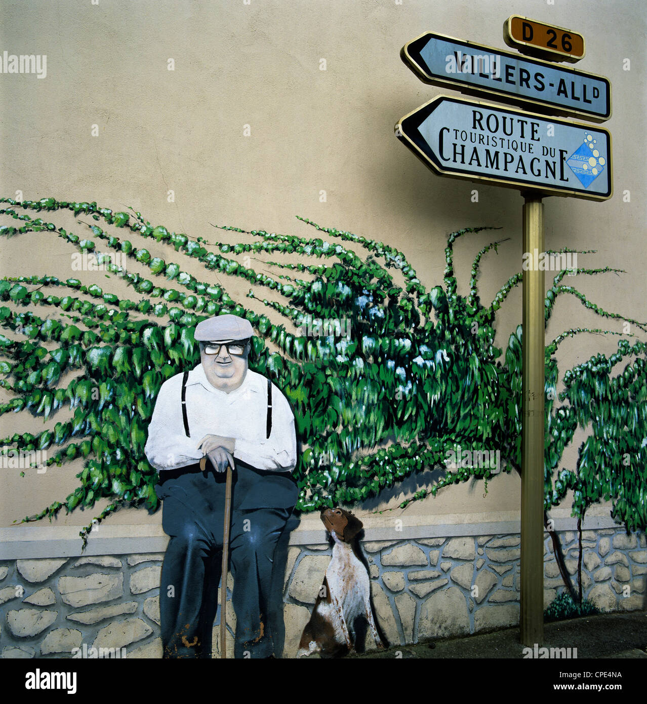 Wall art, near Reims, Champagne, France, Europe - Stock Image