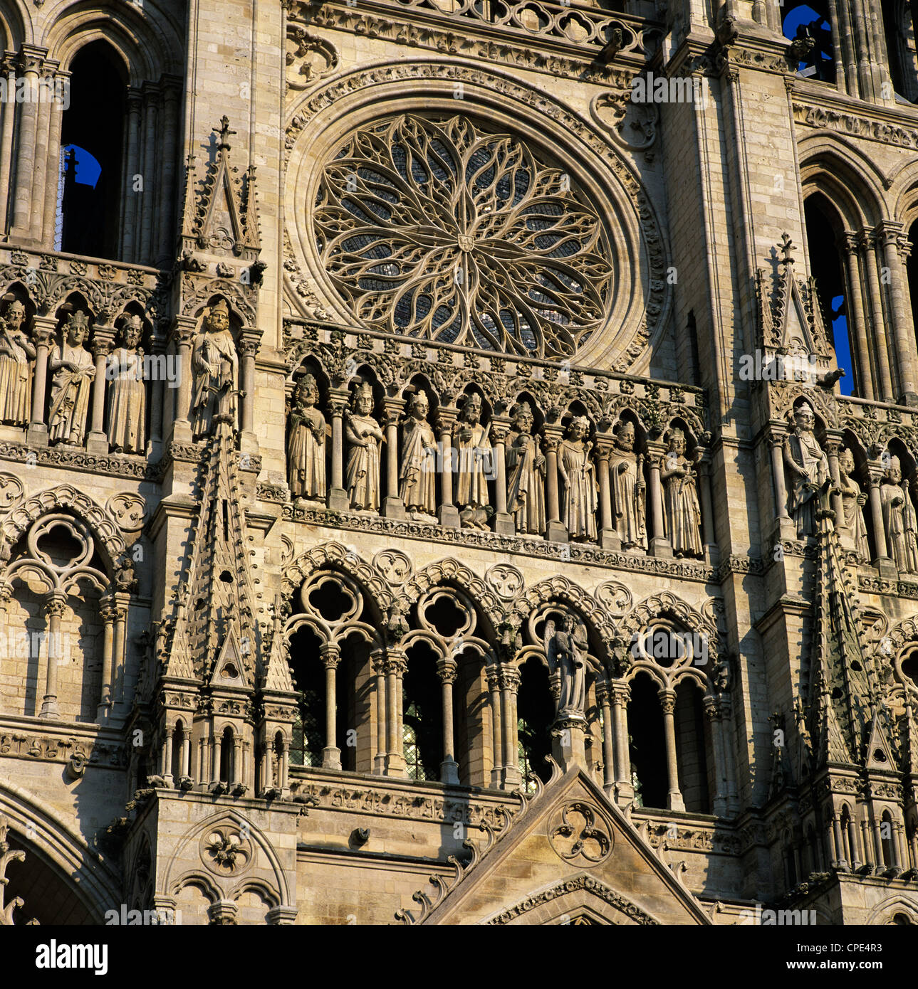Detail of west front, Notre Dame Cathedral, UNESCO World Heritage Site, Amiens, Picardy, France, Europe Stock Photo