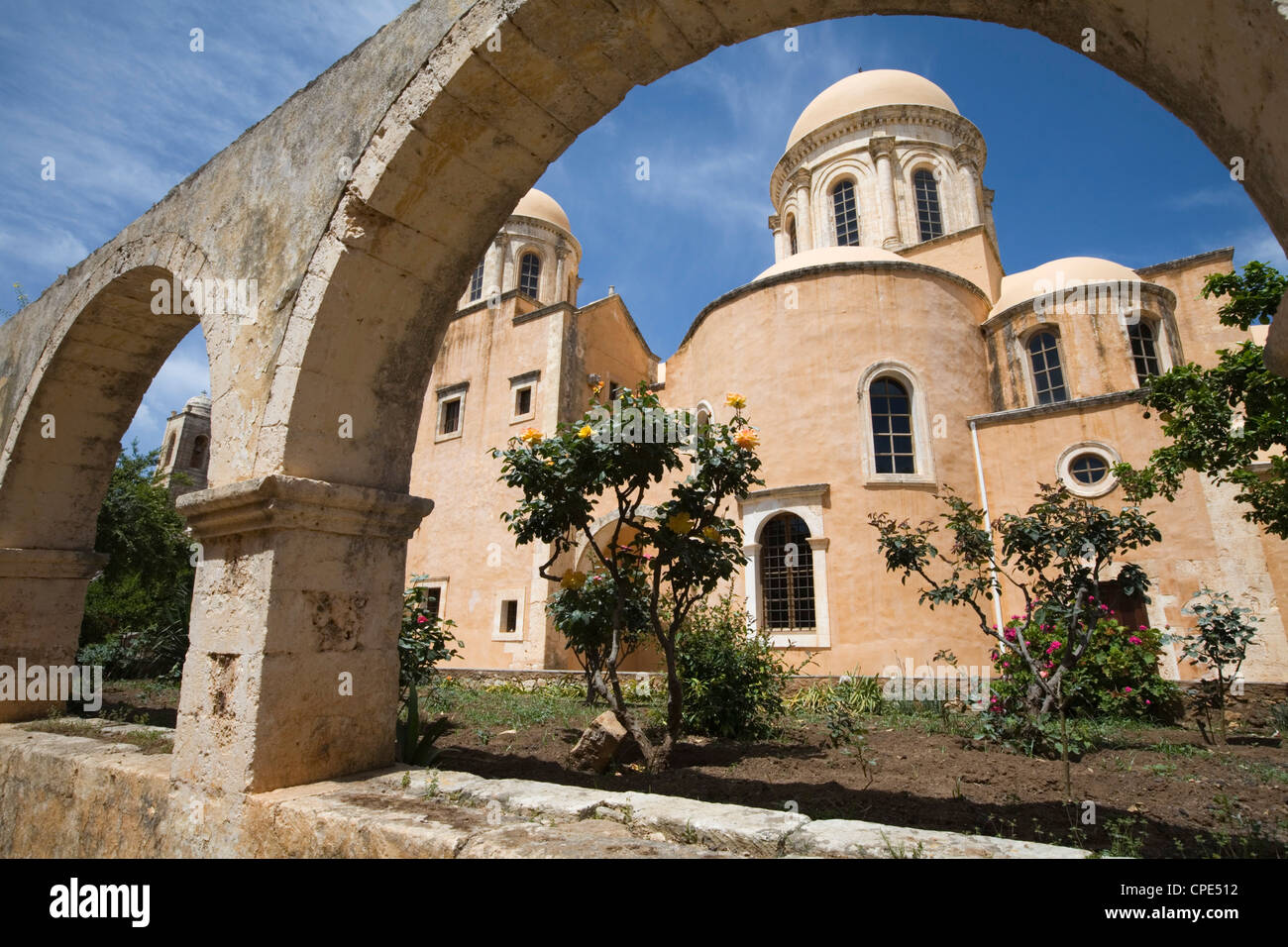 Church inside the monastery complex, Chania region, Crete, Greek Islands, Greece - Stock Image