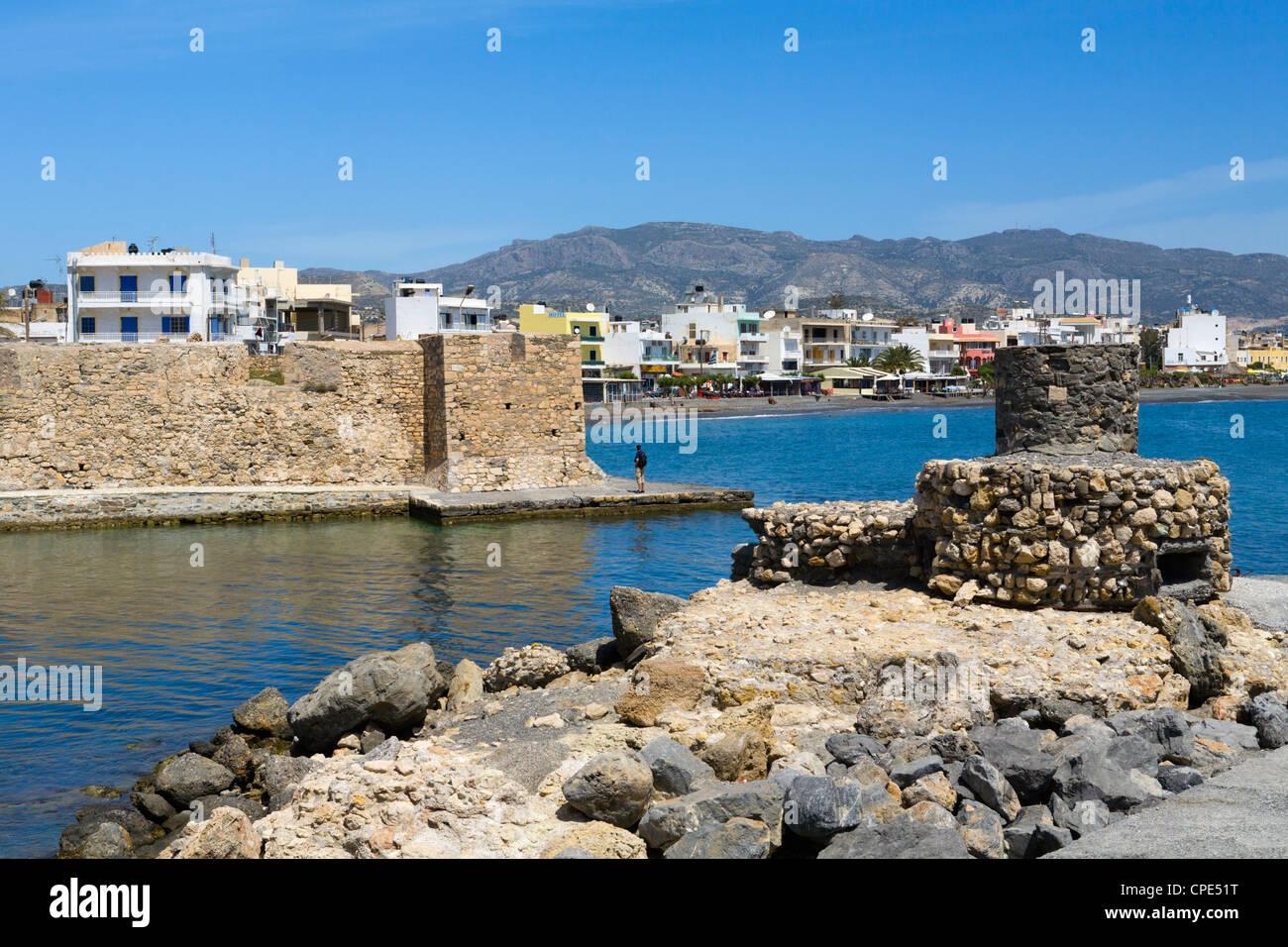 Sea front and Venetian fortress, Ierapetra, Lasithi region, Crete, Greek Islands, Greece, Europe - Stock Image