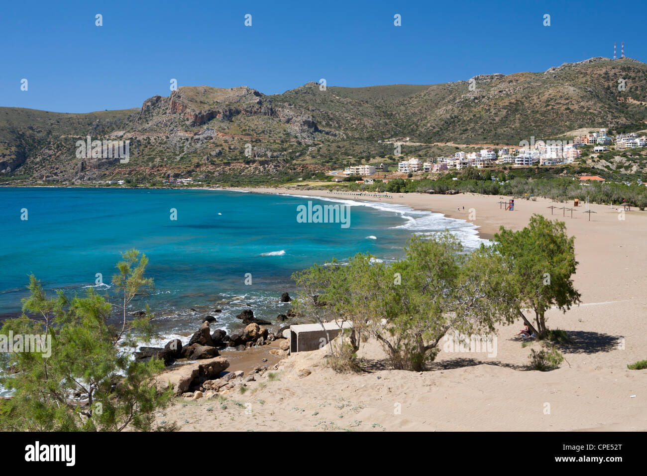 Beach view, Paleohora, Chania region, Crete, Greek Islands, Greece, Europe - Stock Image