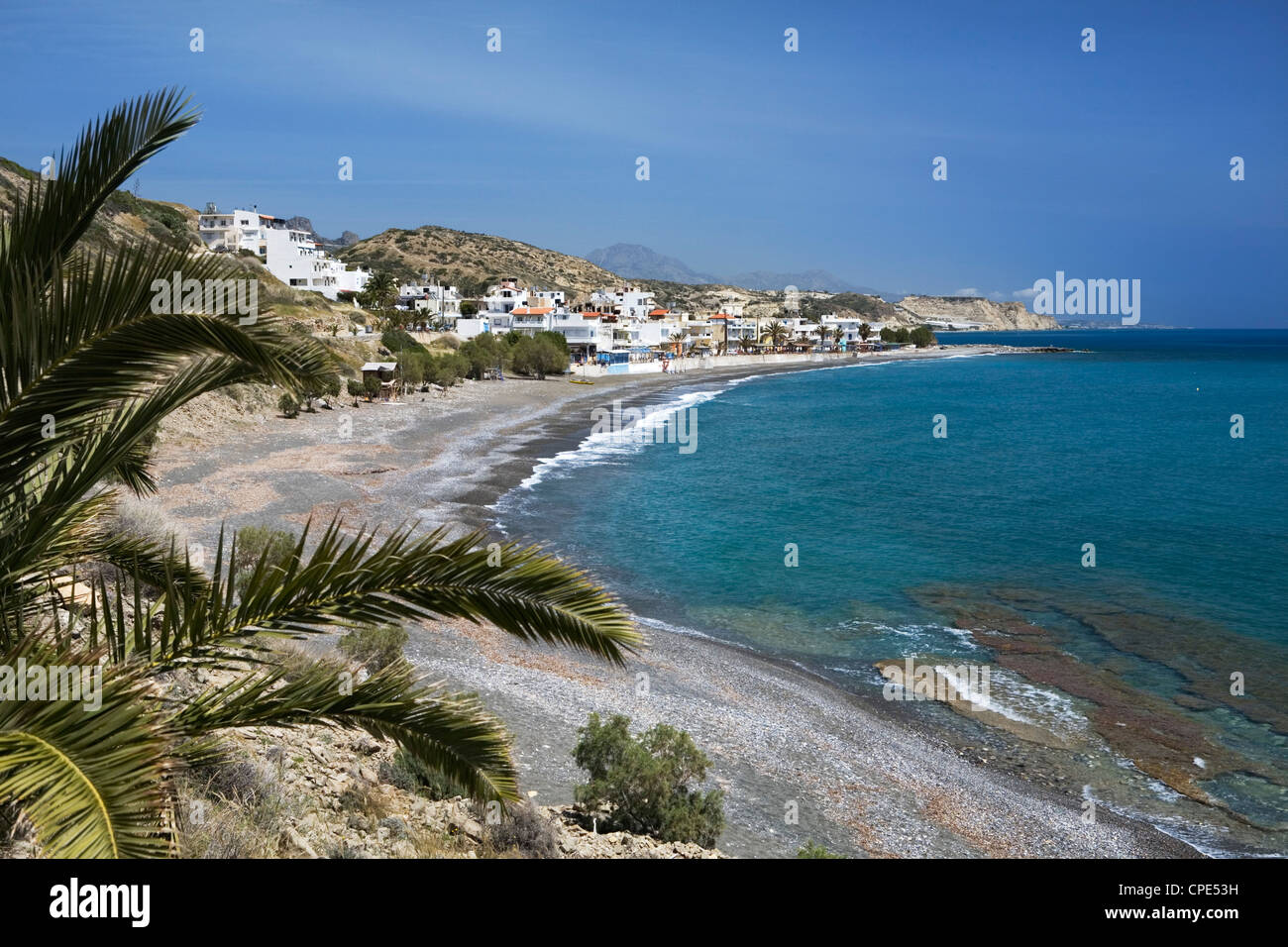 Beach view, Mirtos, Lasithi region, Crete, Greek Islands, Greece, Europe - Stock Image