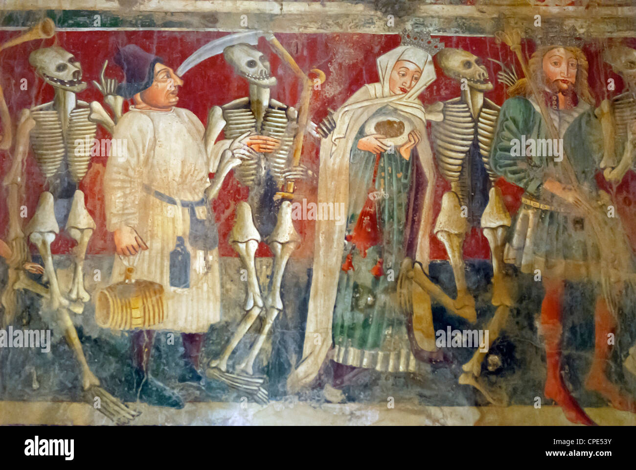 Detail of the Dance of Death fresco dating from 1475, Chapel of Our Lady of the Rocks, Beram, Istria, Croatia, Europe - Stock Image