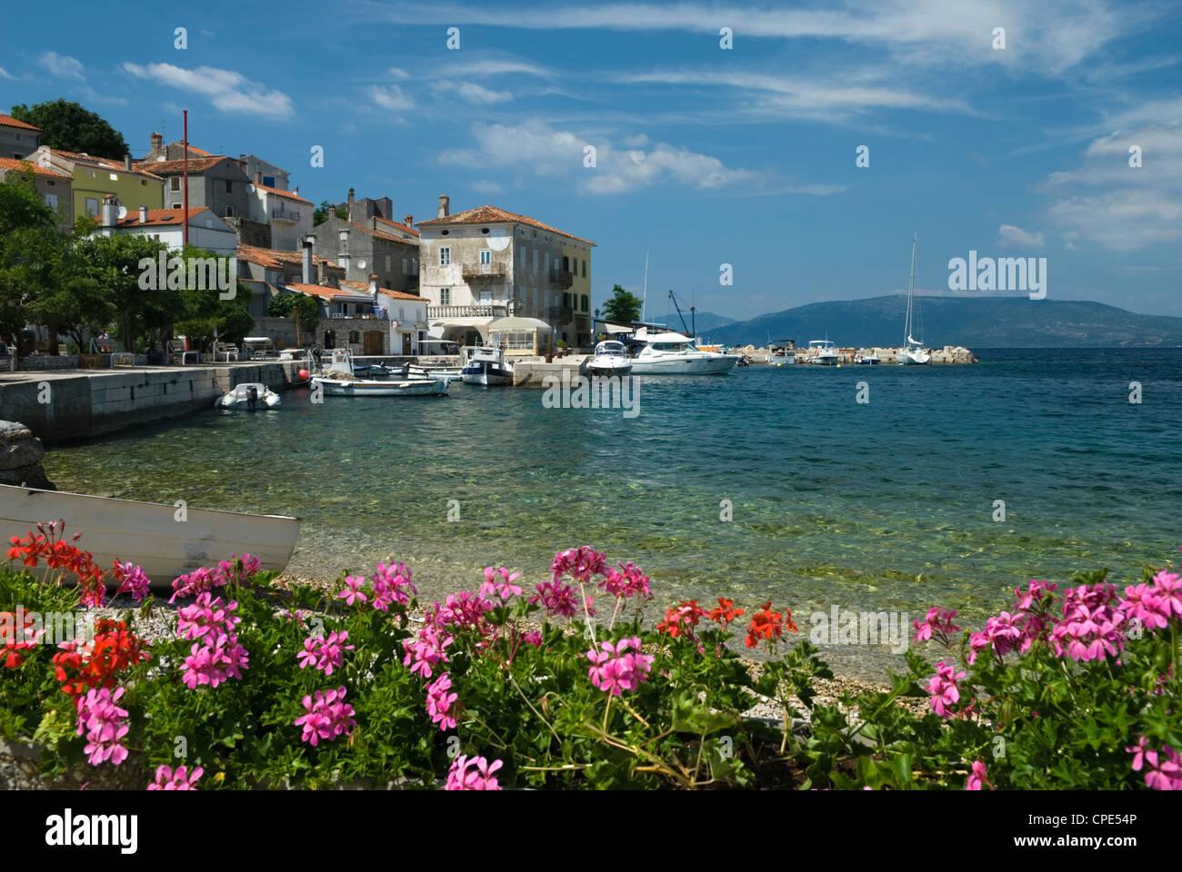 View over fishing village, Valun, Cres Island, Kvarner Gulf, Croatia, Adriatic, Europe Stock Photo