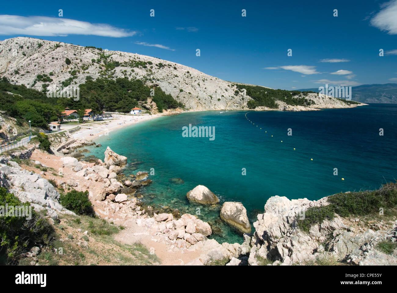 Secluded beach, Baska, Krk Island, Kvarner Gulf, Croatia, Adriatic, Europe - Stock Image