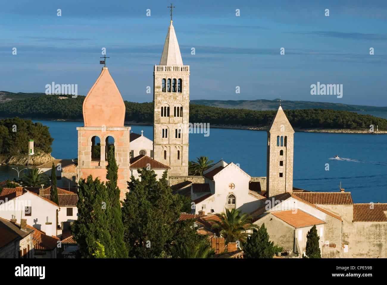 View over campaniles of old town, Rab Town, Rab Island, Kvarner Gulf, Croatia, Adriatic, Europe - Stock Image