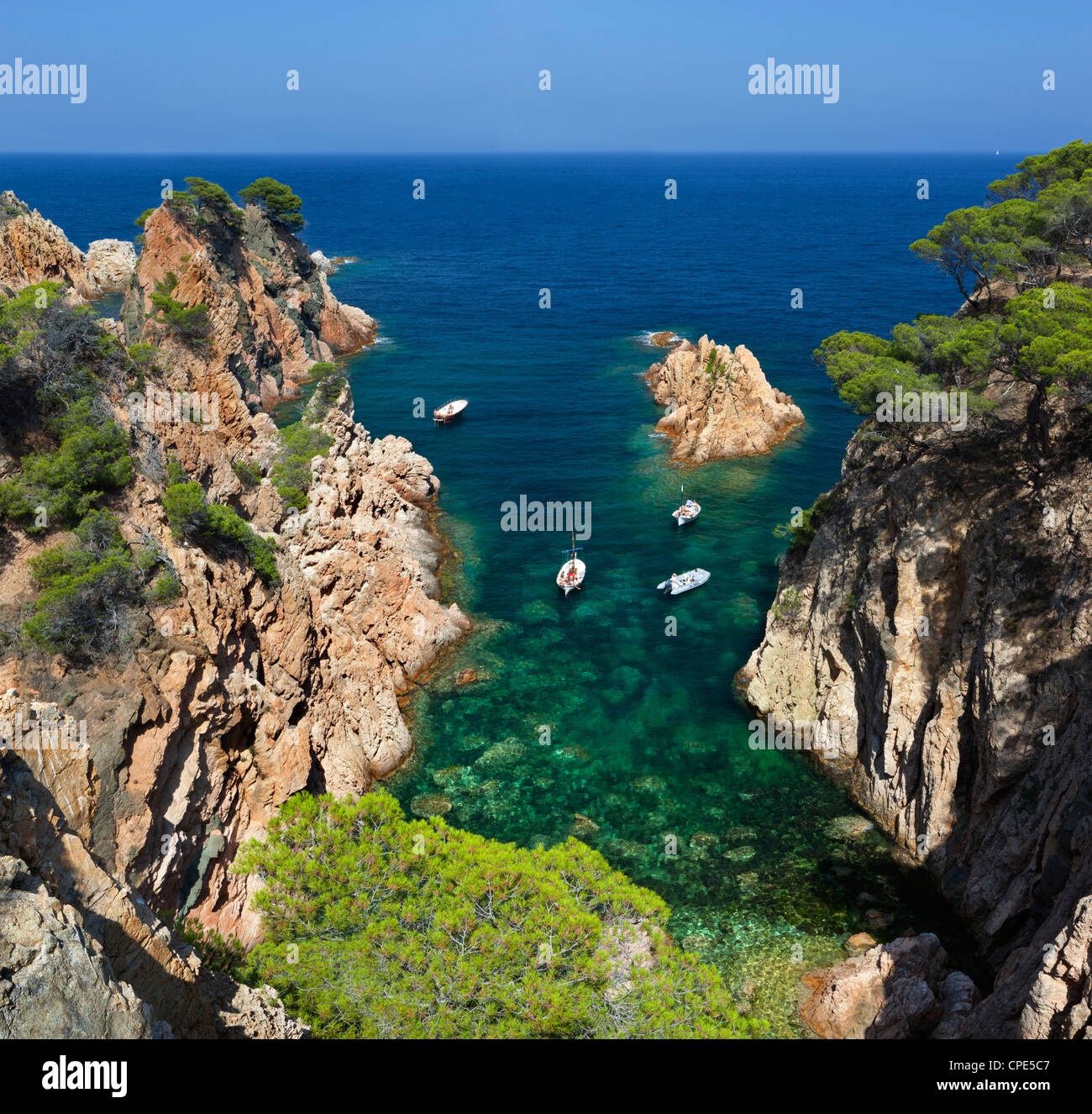 Secluded cove, Aiguaxelida, near Palafrugell, Costa Brava, Catalonia, Spain, Mediterranean, Europe - Stock Image