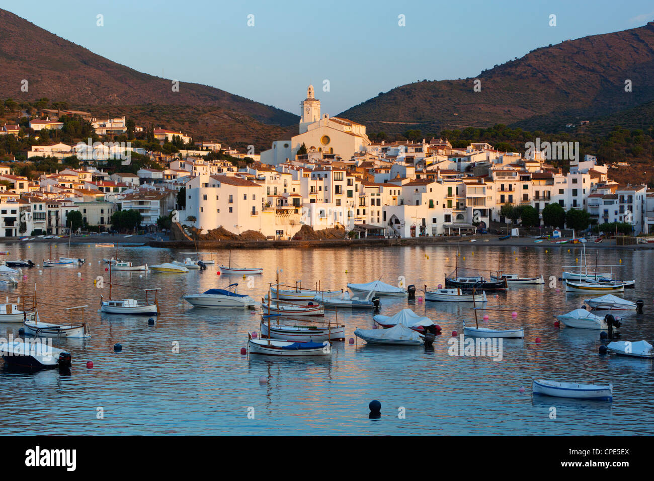 Harbour and town, Cadaques, Costa Brava, Catalonia, Spain, Mediterranean, Europe - Stock Image