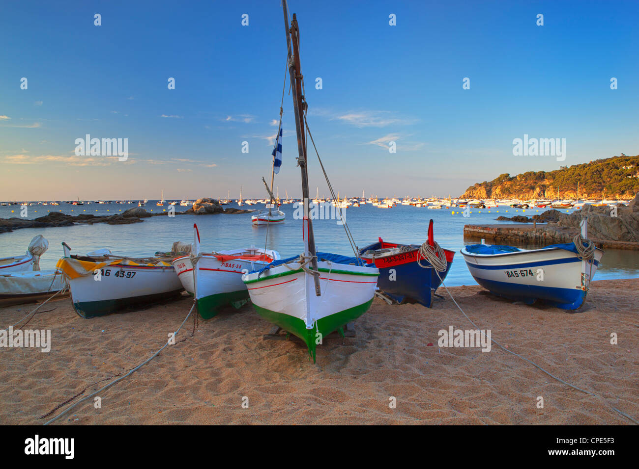 Fishing boats at dawn, Calella de Palafrugell, Costa Brava, Catalonia, Spain, Mediterranean, Europe - Stock Image