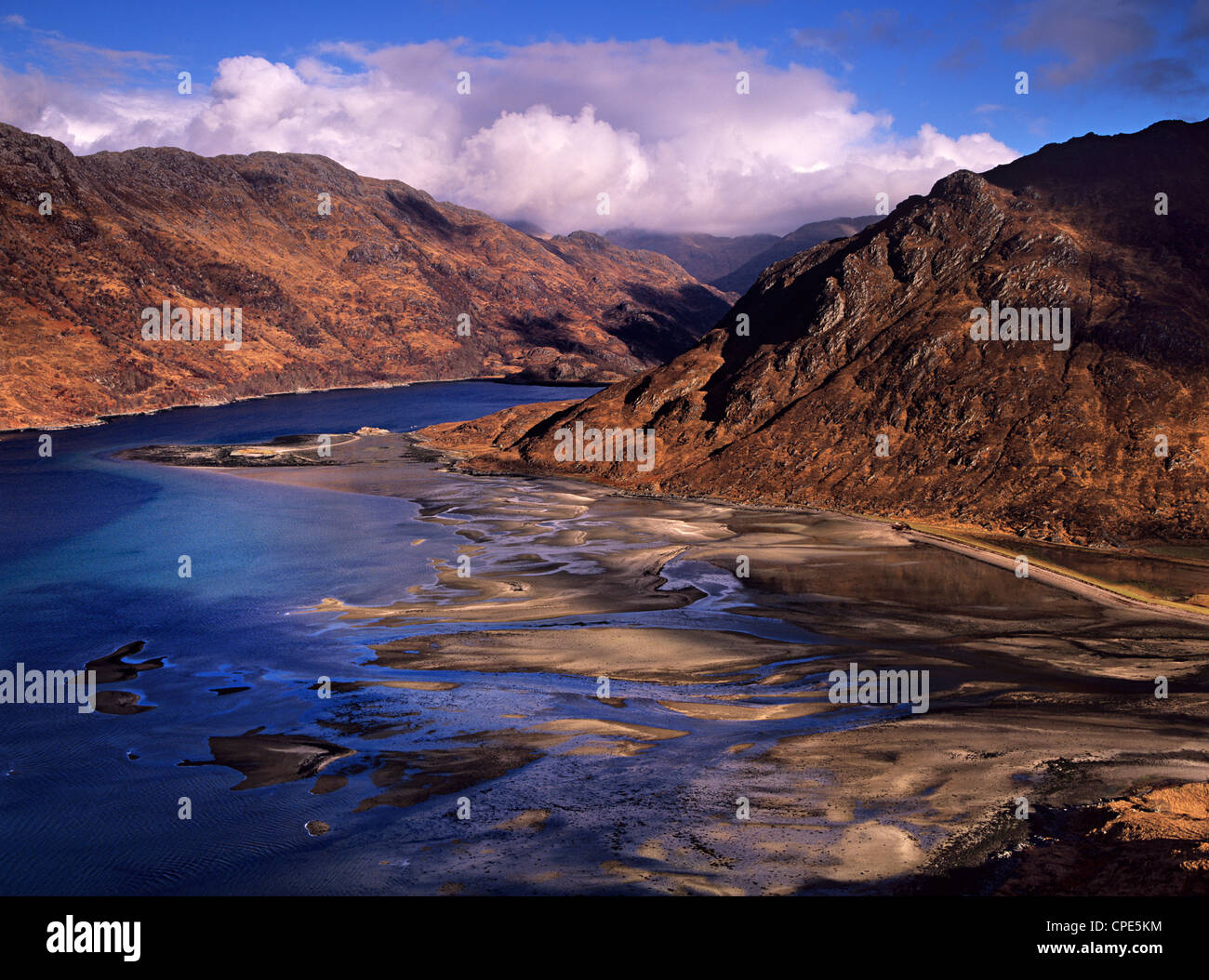 A showery winter's day over Barisdale Bay and Loch Hourn on the peninsula of Knoydart in the western highlands - Stock Image