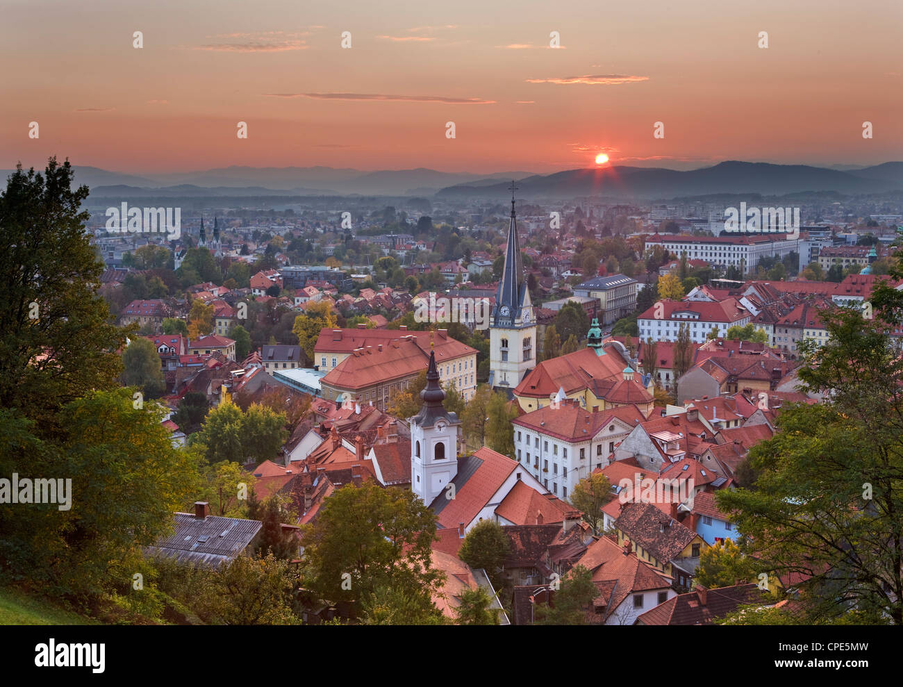 Sunset over the city of Ljubljana, Slovenia, Europe - Stock Image