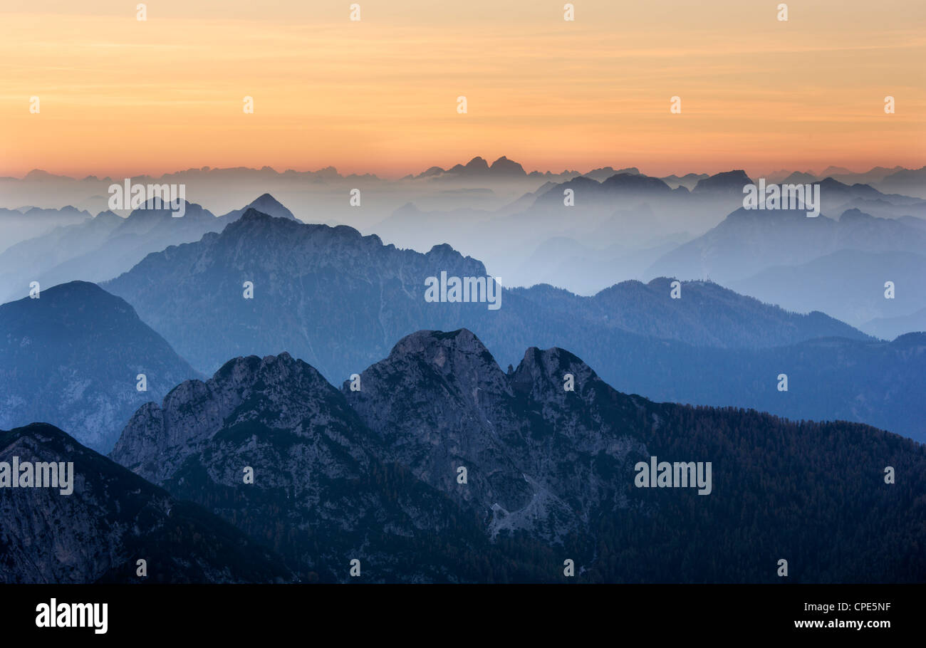Sunset over the Julian Alps from Mangart, Goriska, Slovenia, Europe - Stock Image