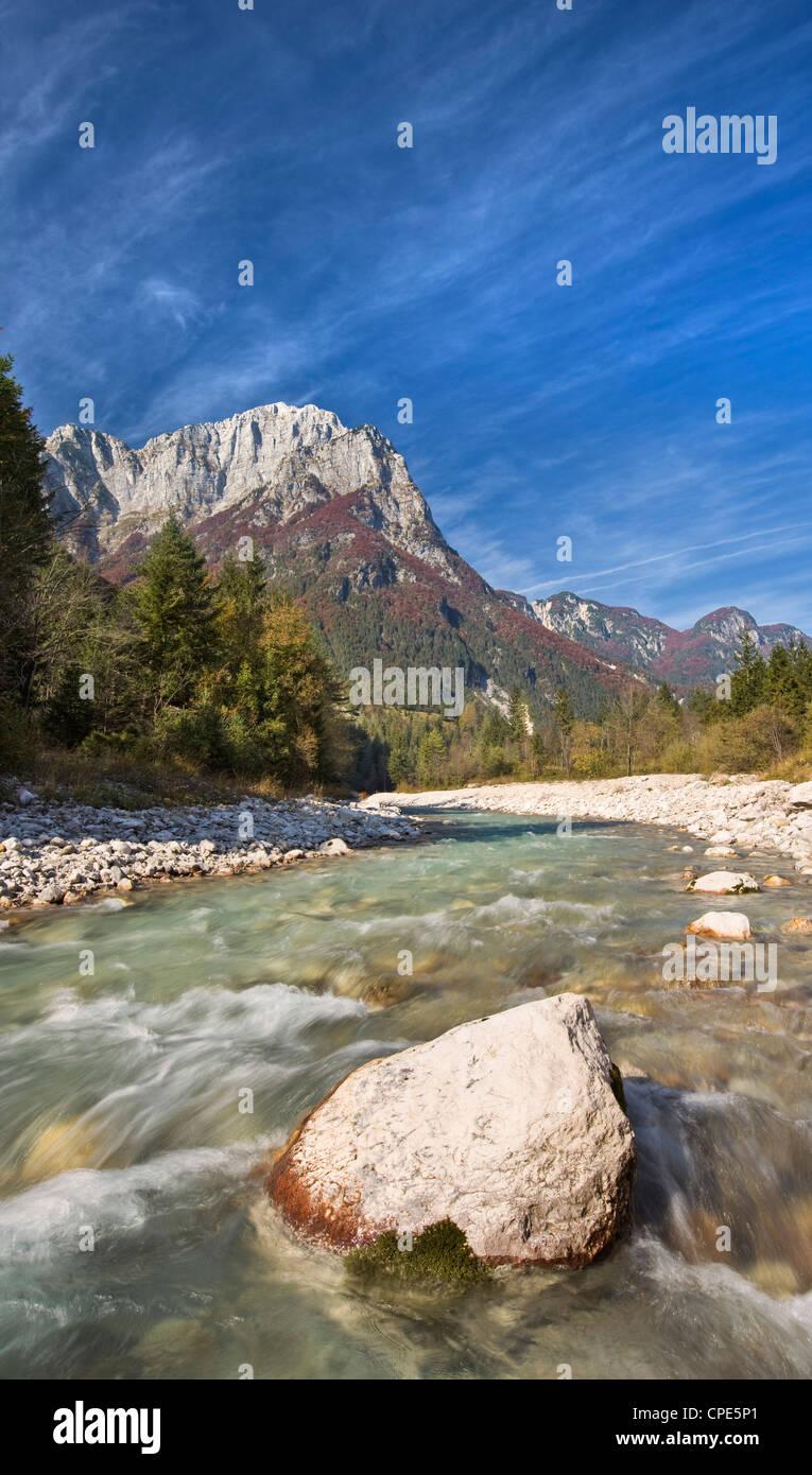 Autumn at the Soca River in the Julian Alps, Gorenjska, Slovenia, Europe - Stock Image