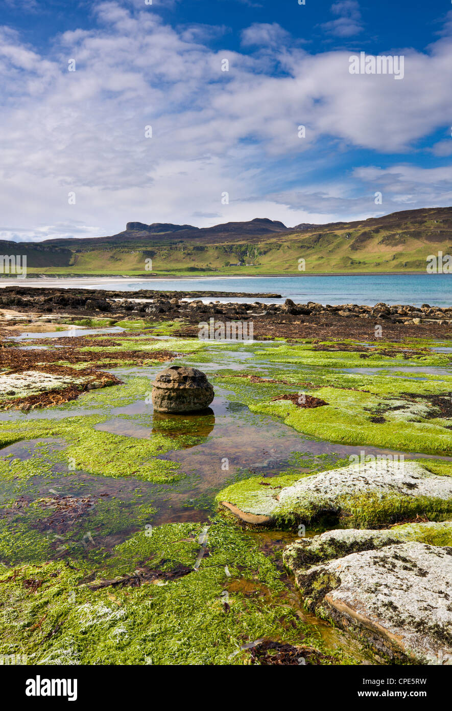 View across Laig Bay towards An Sgurr, Isle of Eigg, Inner Hebrides, Scotland, United Kingdom, Europe - Stock Image