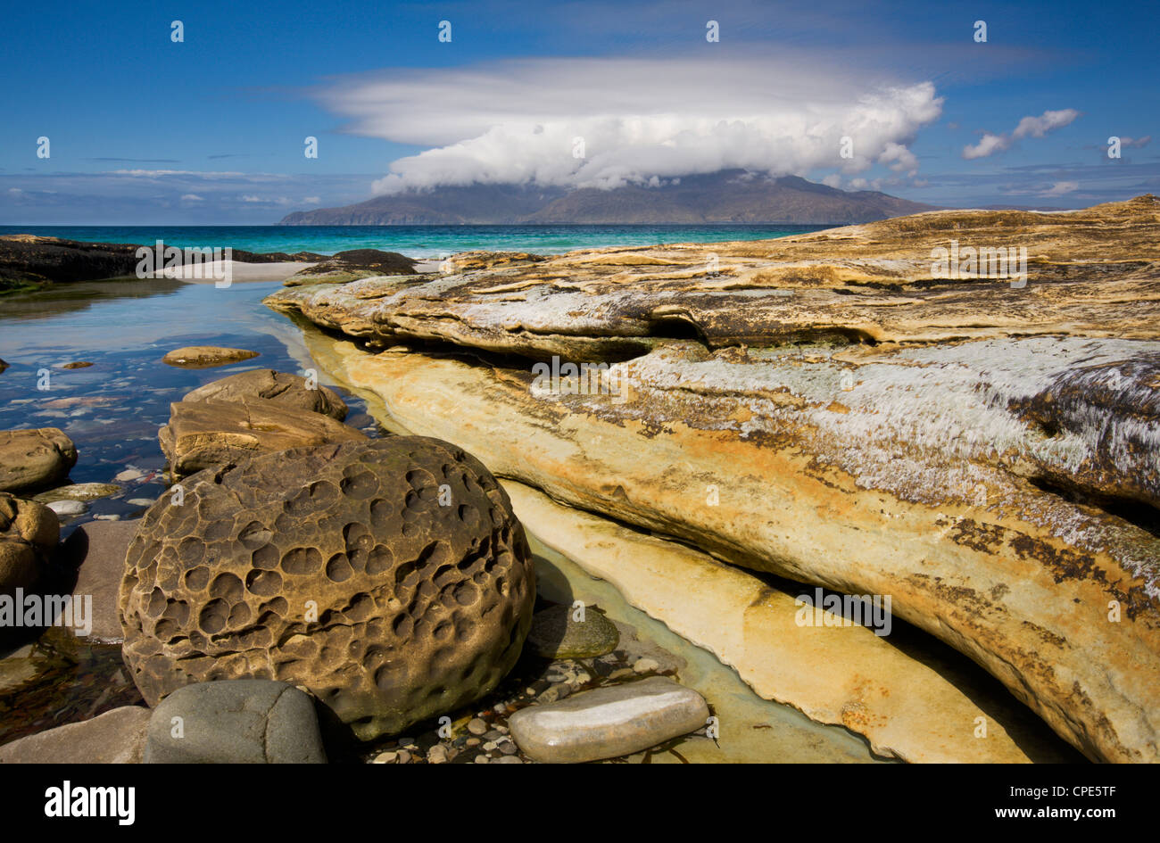View across the Sound of Rum from the Singing Sands, Isle of Eigg, Inner Hebrides, Scotland, United Kingdom, Europe - Stock Image