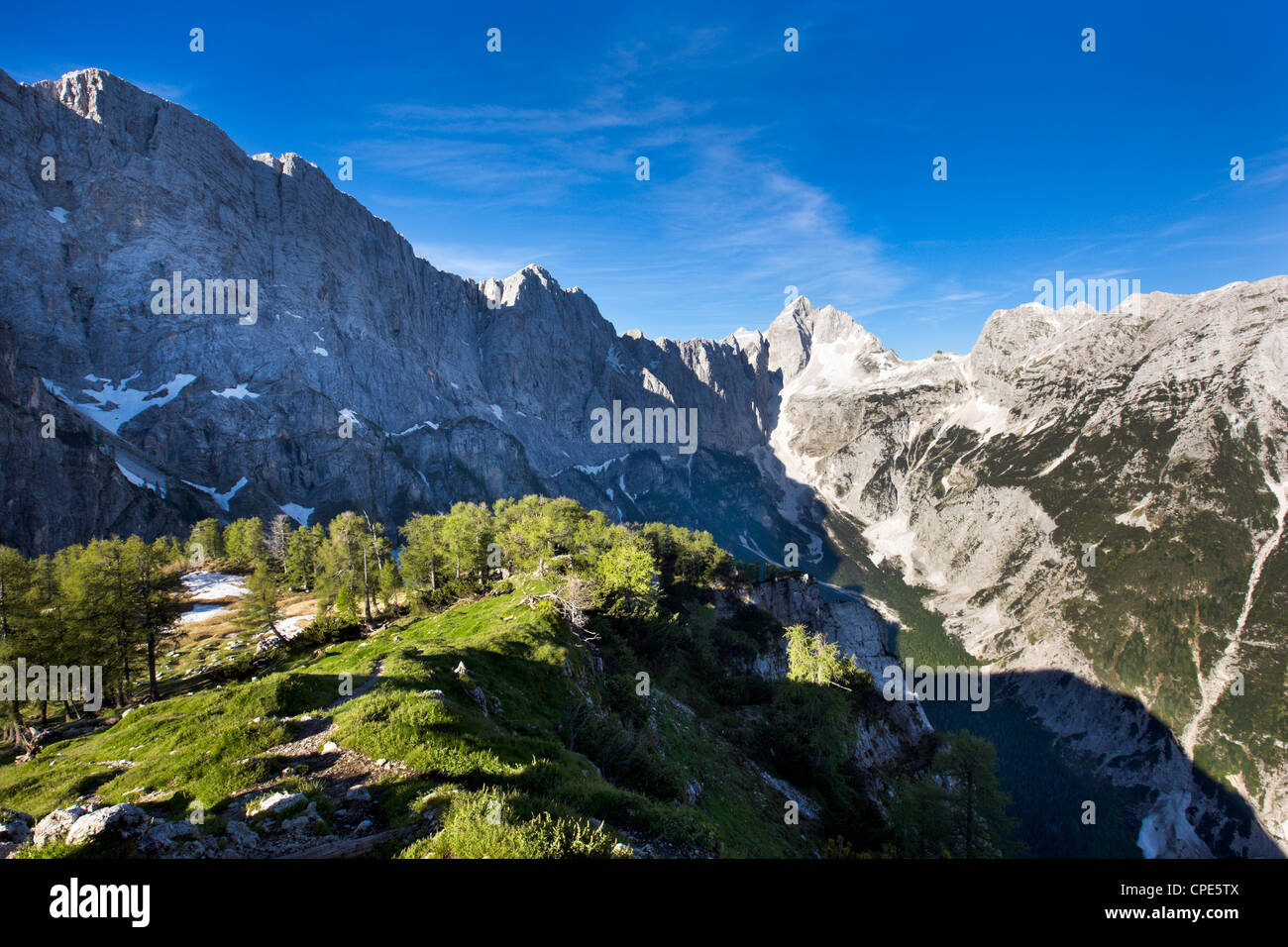 View from the top of Sleme, Julian Alps, Gorenjska, Slovenia, Europe - Stock Image