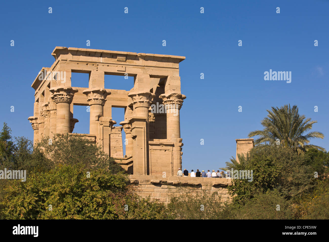 Group of tourists at the Kiosk of Trajan at the Philae Temples, UNESCO World Heritage Site, Nubia, Egypt, North - Stock Image