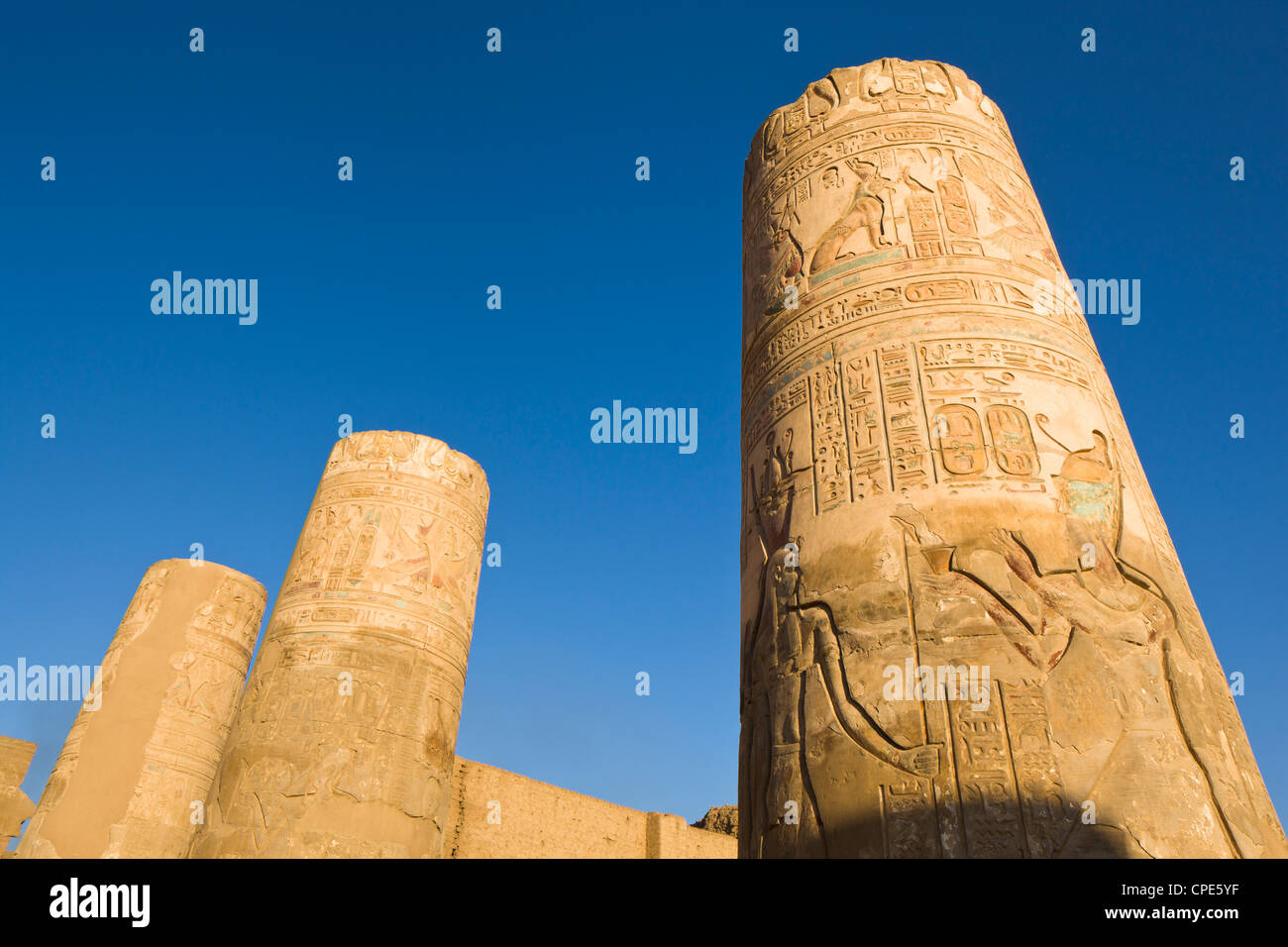 Painted pillars at the Temple of Sobek and Haroeris, Kom Ombo, Egypt, North Africa, Africa Stock Photo