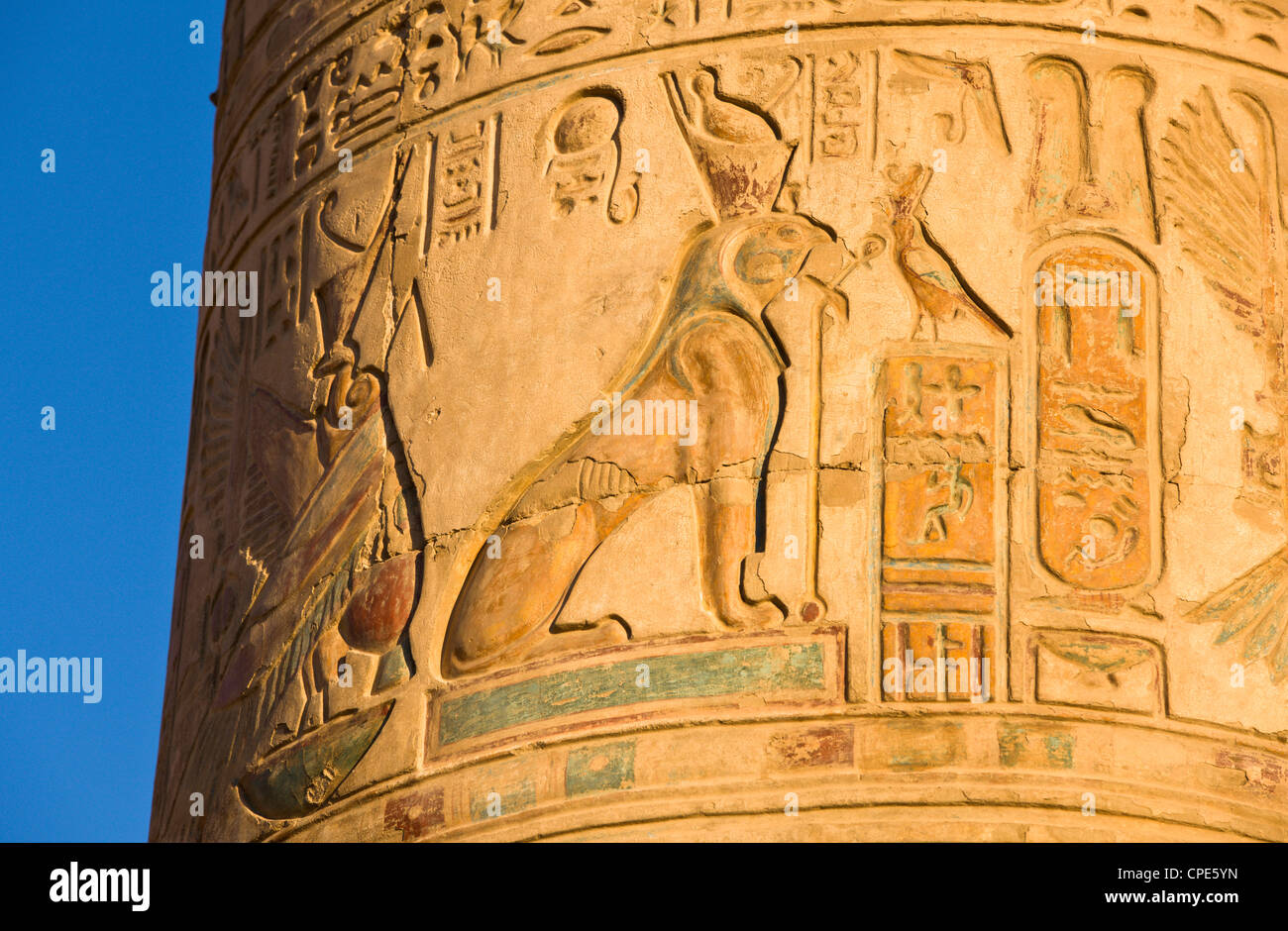 Painted pillar at the Temple of Sobek and Haroeris, Kom Ombo, Egypt, North Africa, Africa Stock Photo