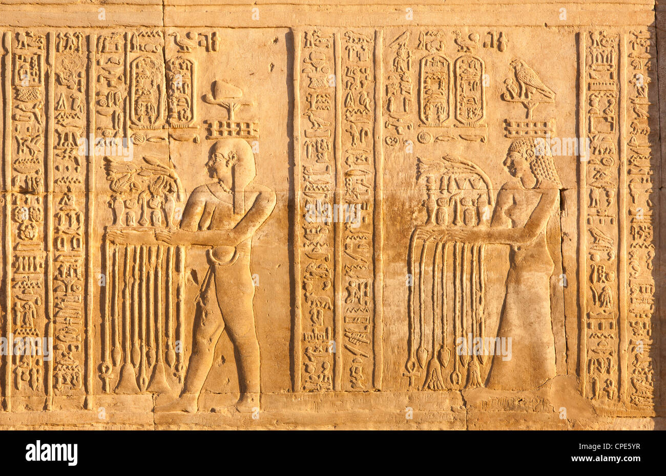 Relief at the twin Temple of Sobek and Haroeris, Kom Ombo, Egypt, North Africa, Africa Stock Photo