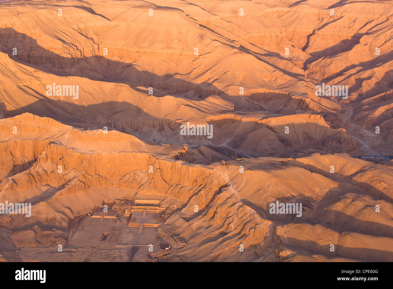 Aerial view from hot air balloon of Hatshepsut's Mortuary Temple, Thebes, Egypt - Stock Image