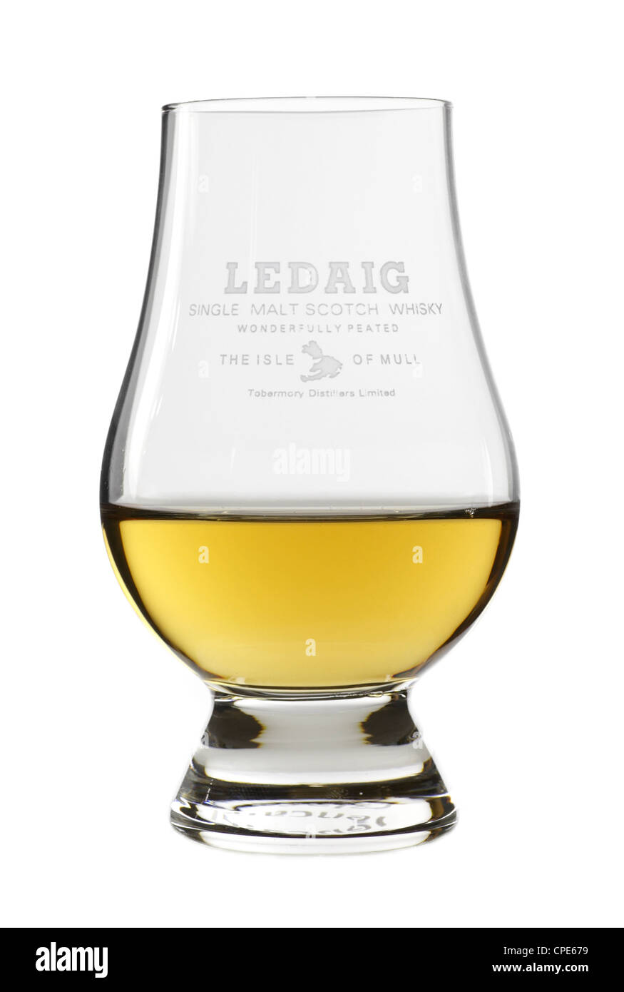 Ledaig whisky in its own tasting glass - Stock Image