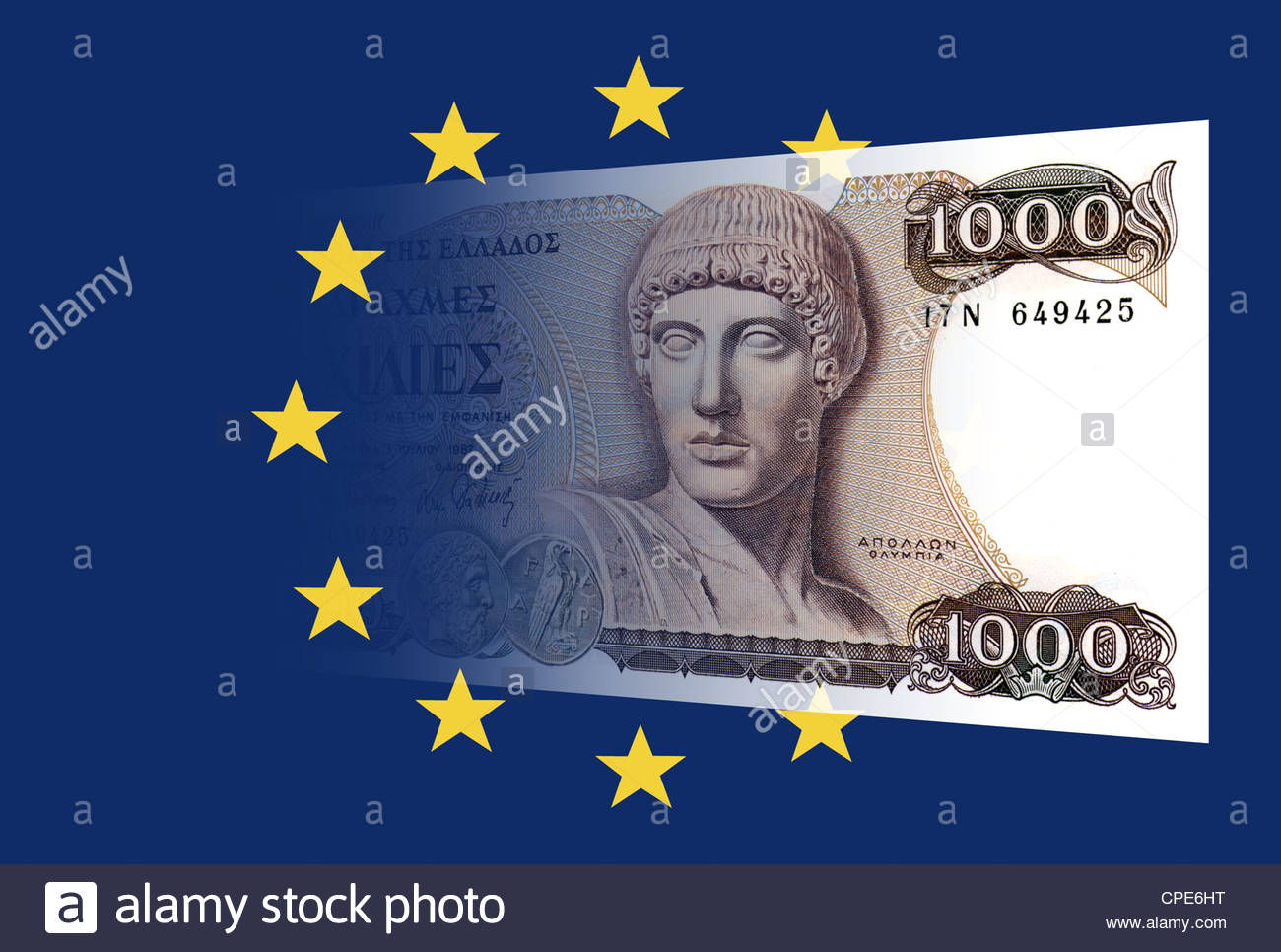 The Greek Drachma and the european flag - Stock Image