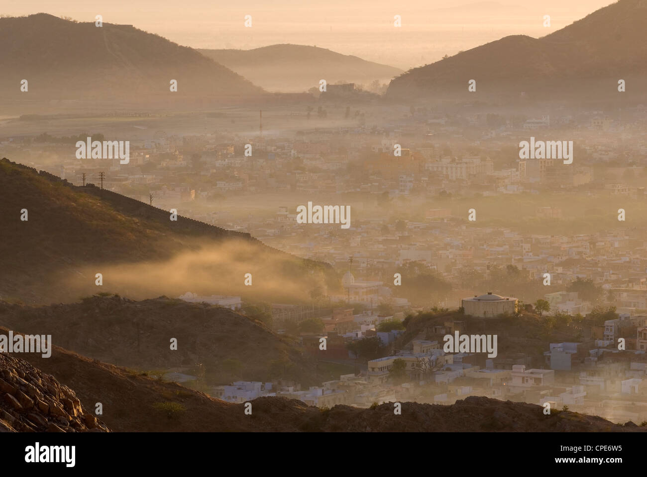 View from Tiger Fort, Jaipur, Rajasthan, India, Asia - Stock Image