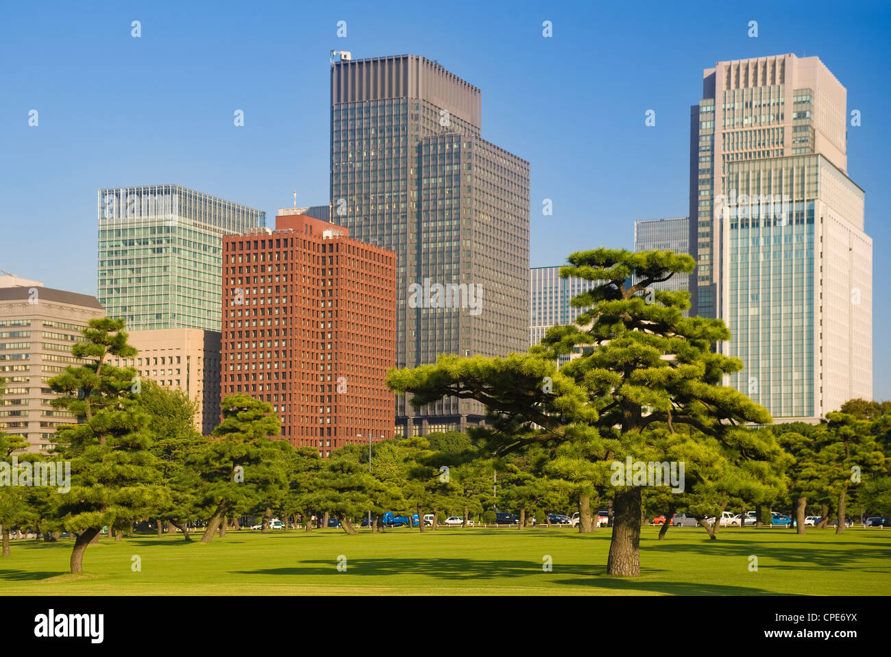 View of City Centre from Imperial Plaza, Tokyo, Japan, Asia - Stock Image