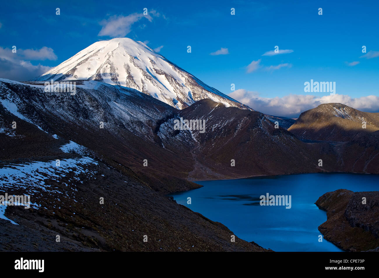 Mount Ngauruhoe and Upper Tama Lake, Tongariro National Park, UNESCO World Heritage Site, North Island, New Zealand, - Stock Image
