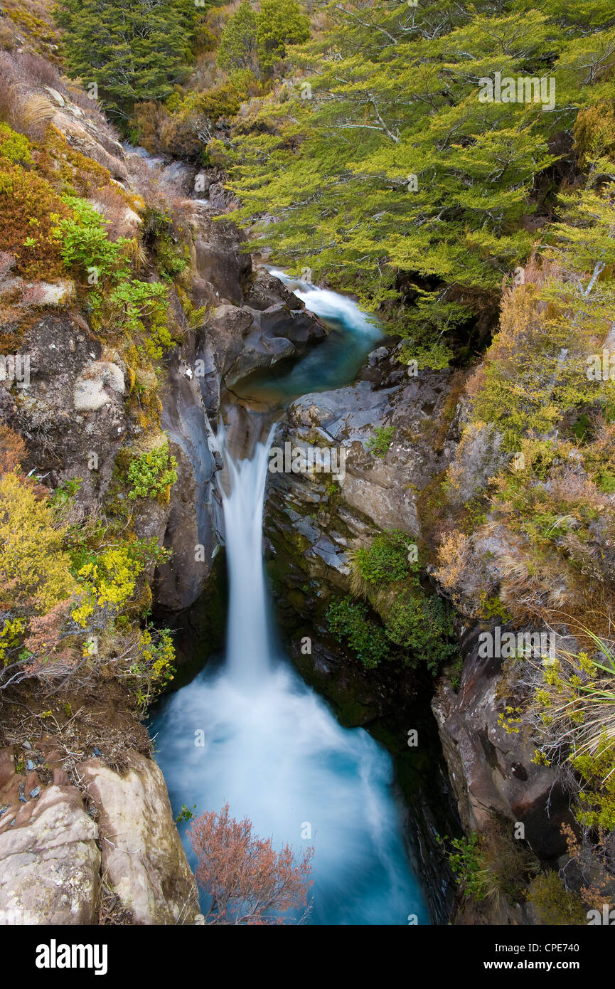 Taranaki Falls, Tongariro National Park, UNESCO World Heritage Site, North Island, New Zealand, Pacific - Stock Image