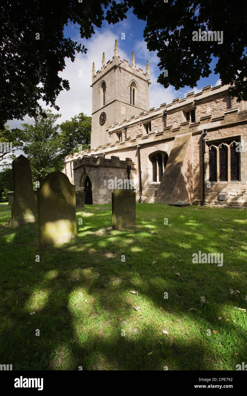 St. Andrew's Church in Epworth, Lincolnshire, the birthplace of John and Charles Wesley, founders of the Methodist - Stock Image