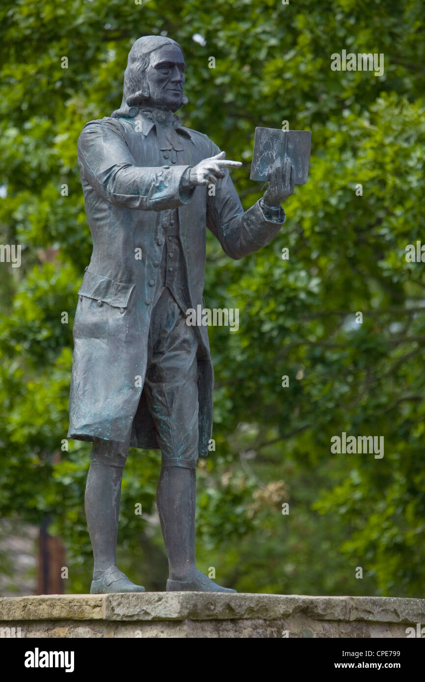 Statue of John Wesley in Epworth, the birthplace of John and Charles Wesley, founders of the Methodist Movement - Stock Image