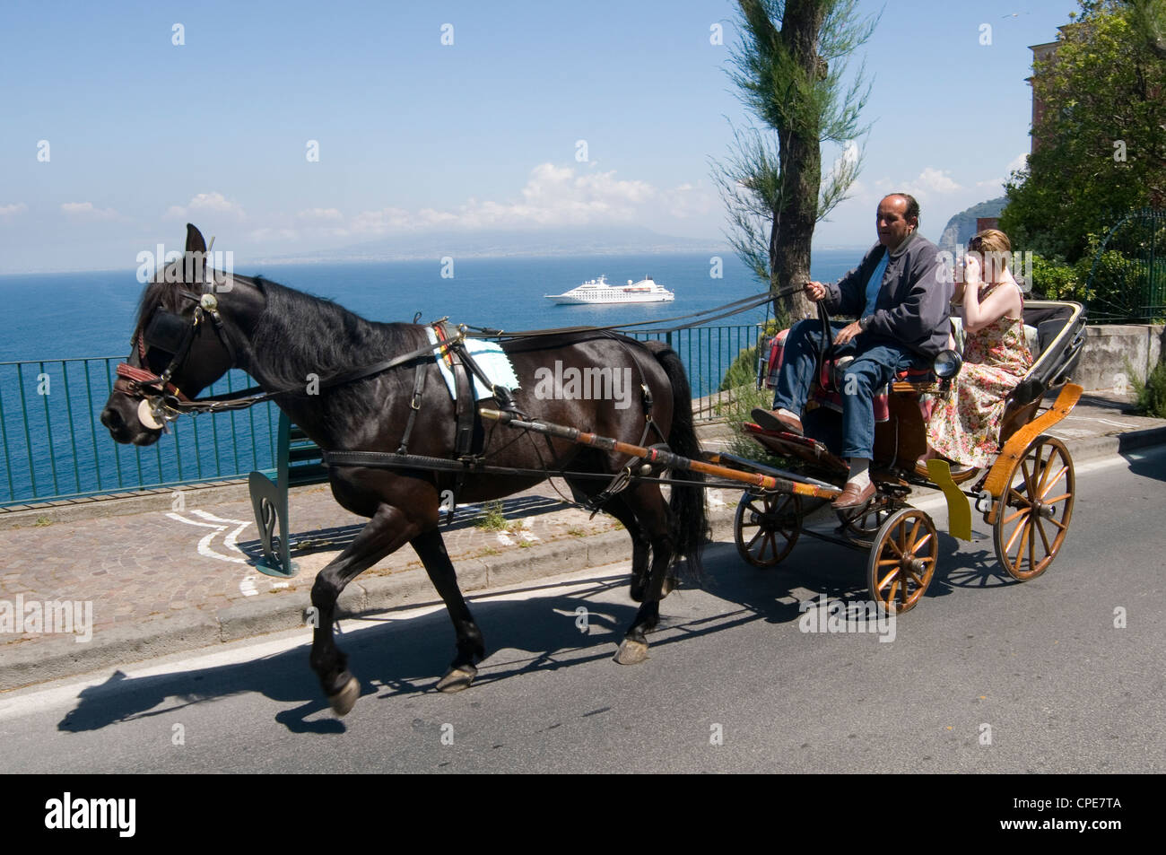 horse pony and trap sightseeing trip tour tors trips in sorrento  amalfi coast italy italian - Stock Image