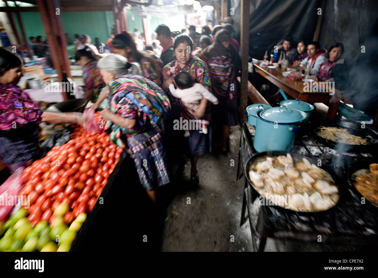 Food stalls in market, Chichicastenango, Western Highlands, Guatemala, Central America - Stock Image