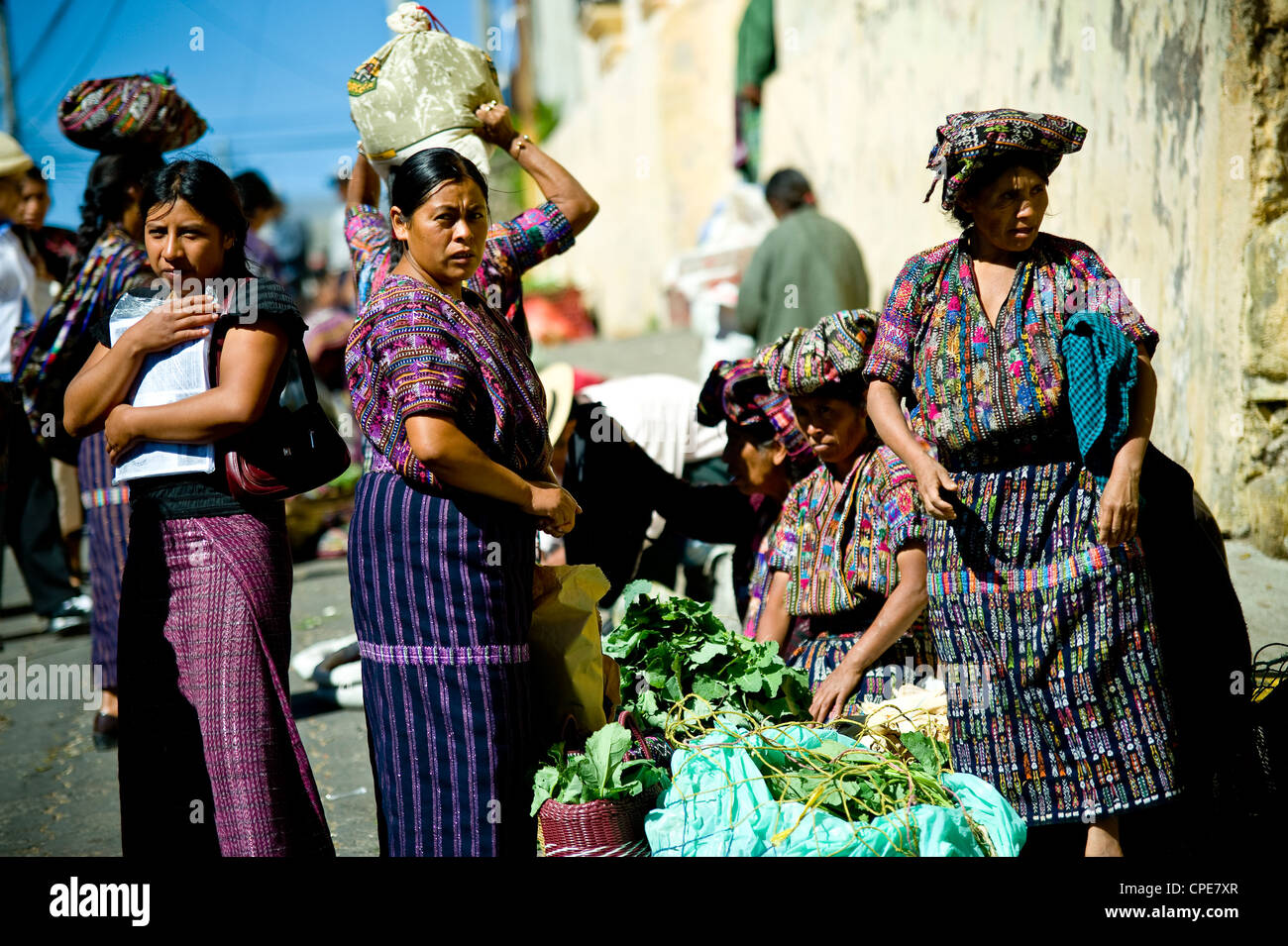 Market at Solola, Western Highlands, Guatemala, Central America - Stock Image