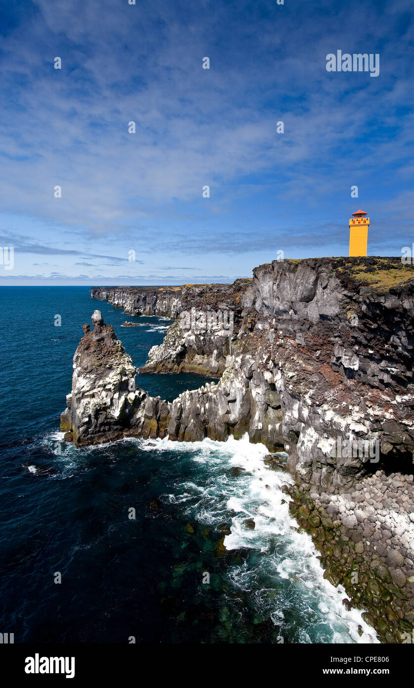Svortuloft Cliffs, Snaefellsnes Peninsula, West Iceland, Iceland, Polar Regions - Stock Image
