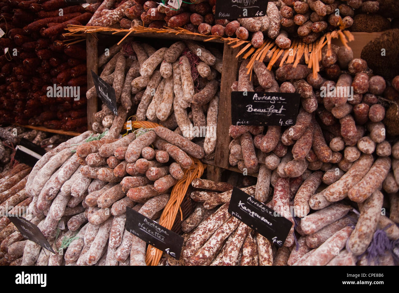 Sausages and saucisson on sale at market in Tours, Indre-et-Loire, Centre, France, Europe - Stock Image
