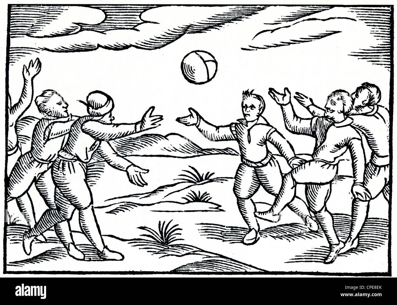 ELIZABETHAN ENGLAND: game with a ball - Stock Image